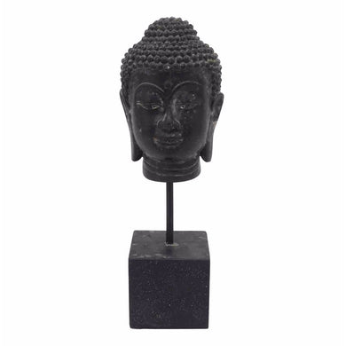 Peaceful Resin Buddha Head On Stand, Black
