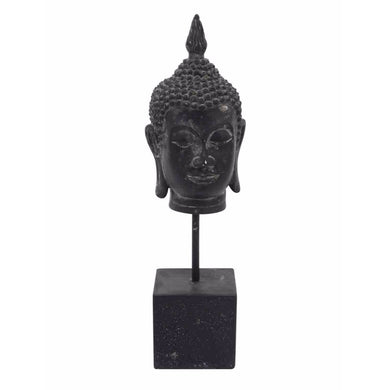 Resin Buddha Head On Stand, Black