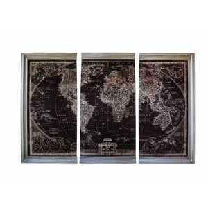 Antique World Map Wall Decor, Set Of 3, Multicolor
