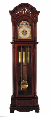 Wood & Metal Grandfather Clock, Cherry Brown