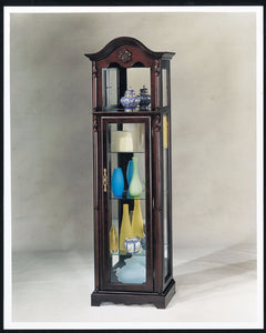 Wooden Curio Cabinet, Cherry Brown