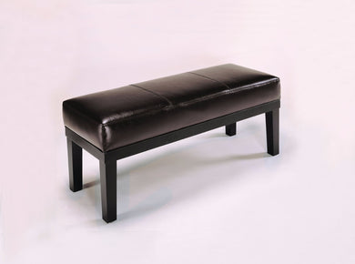 Wooden Bench With Polyurethane Seat, Espresso Brown