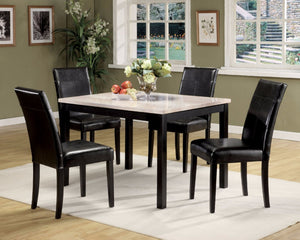 Dining Set of 5 Piece Pack, White Faux Marble & Black