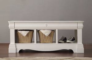 Wooden Bench with Storage, White