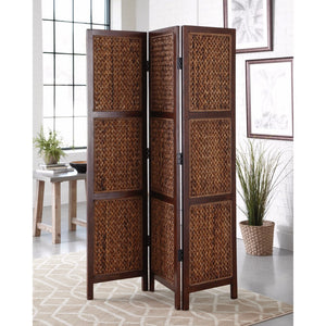 Three Panel Woven Banana Leaf Folding Screen, Brown
