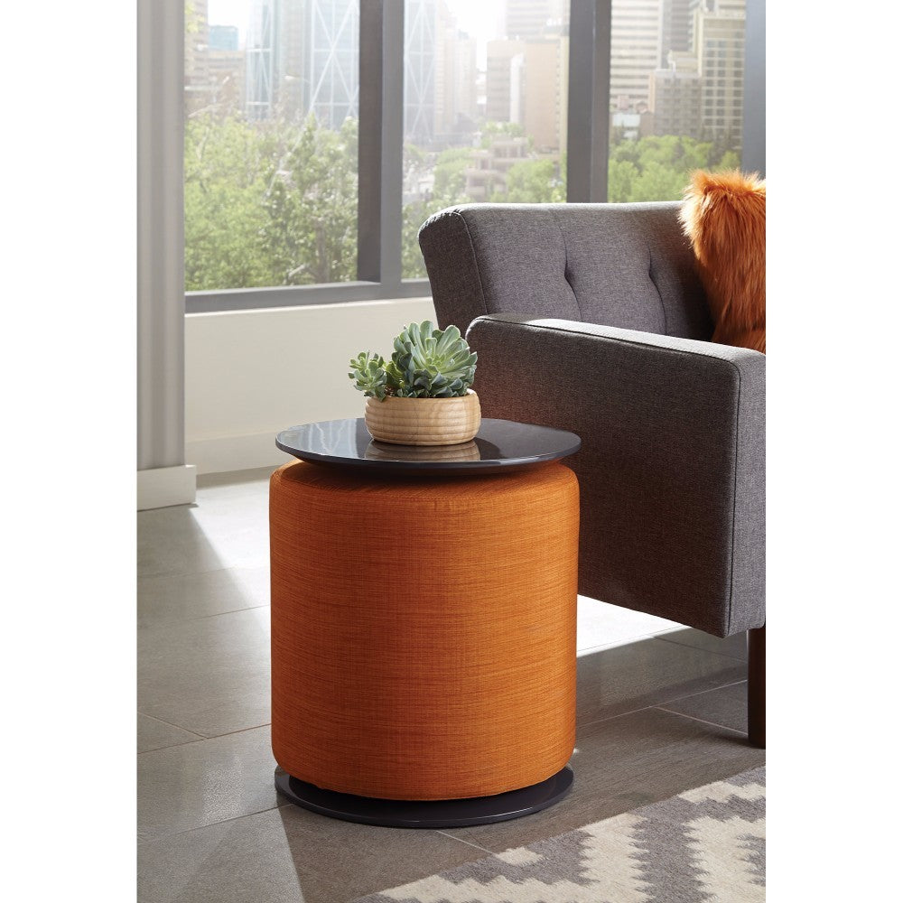 Captivating Wooden Accent Table With Ottoman, Orange
