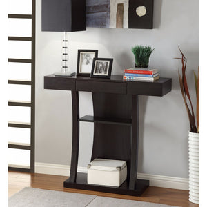 T-Shaped Console Table With 2 Shelves, Brown