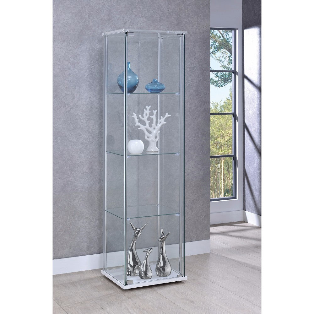 Contemporary Style Glass Curio Cabinet, Clear And Silver