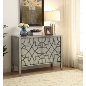 Wooden Accent Cabinet With Carved Detailed Pattern, Gray