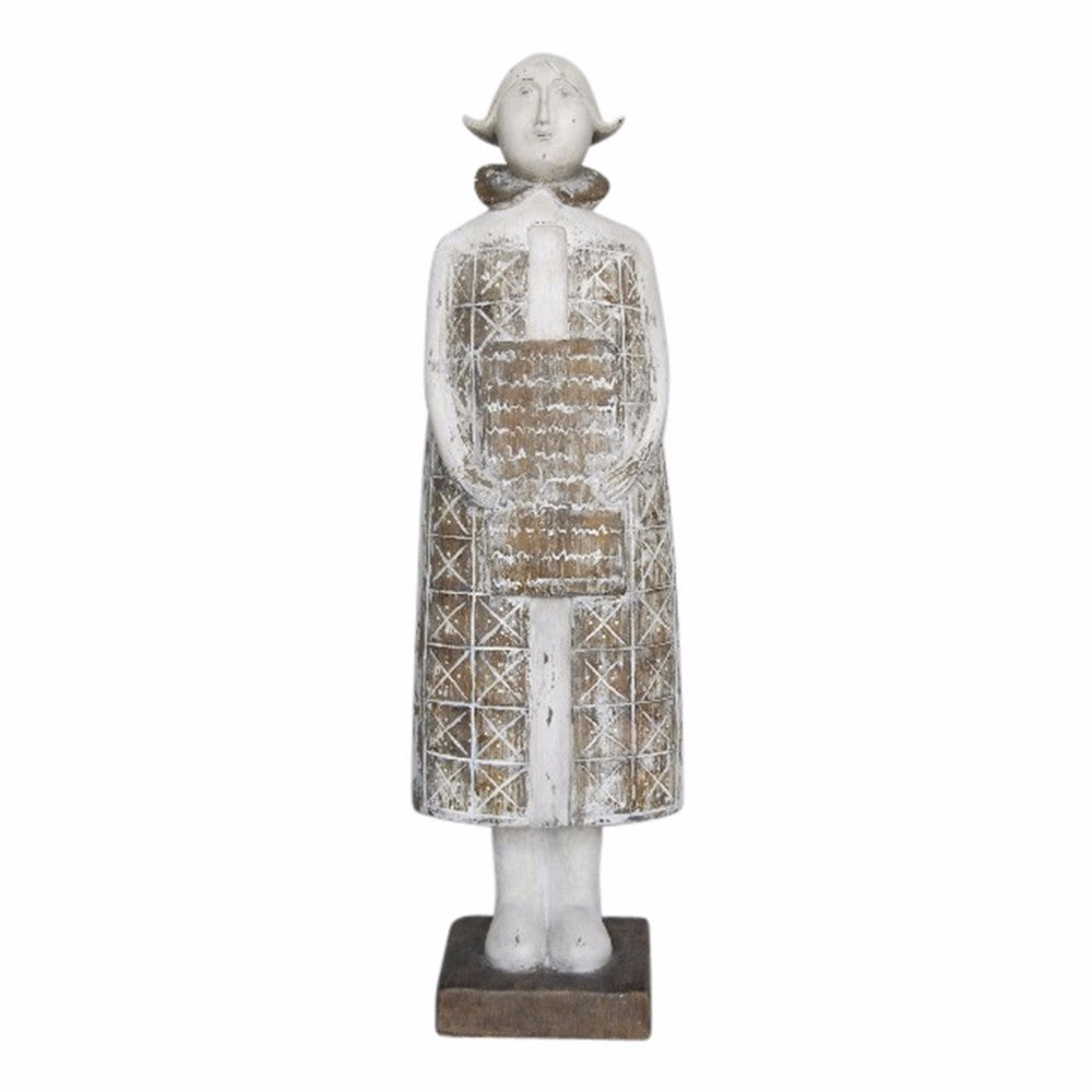 Stone Roughened Female Resin Figurine, White