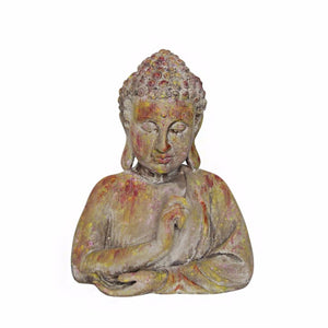 Resin Buddha Bust In Distressed Finish, Multicolor