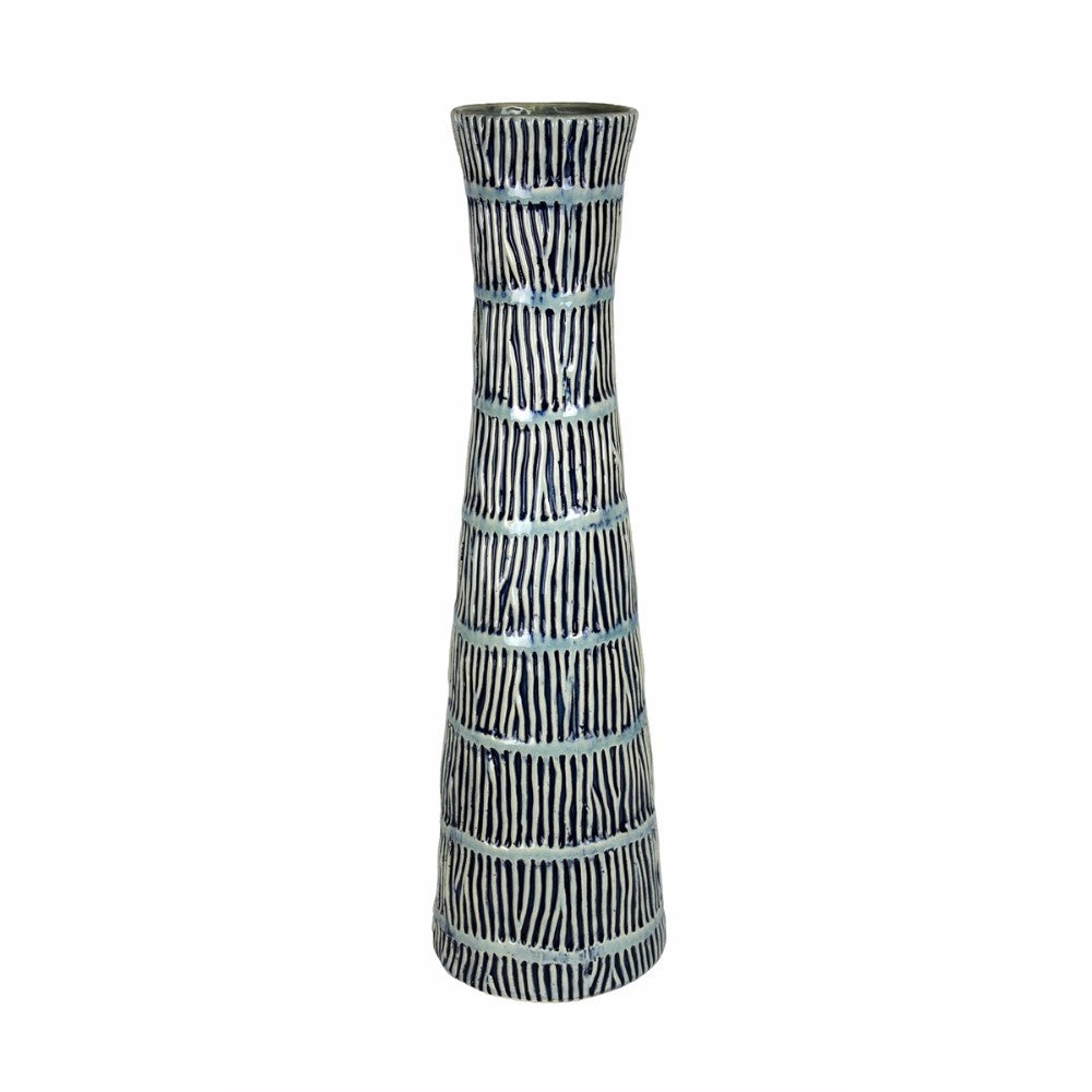 Ceramic Cinched Neck Aqua Vase, Blue