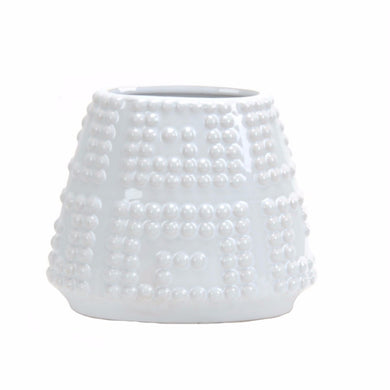 Ceramic Raised Beaded Vase In White, Small