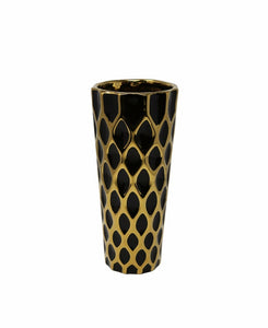 Boldly Striking Decorative Ceramic Vase, Black And Gold