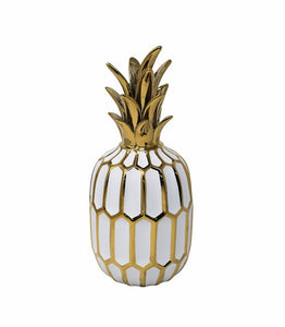 Glossy Ceramic Pineapple Figurine With White And Gold Finish