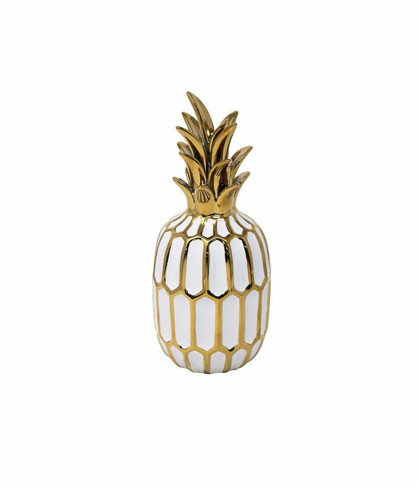 Glossy Small Ceramic Pineapple Figurine With White And Gold Finish