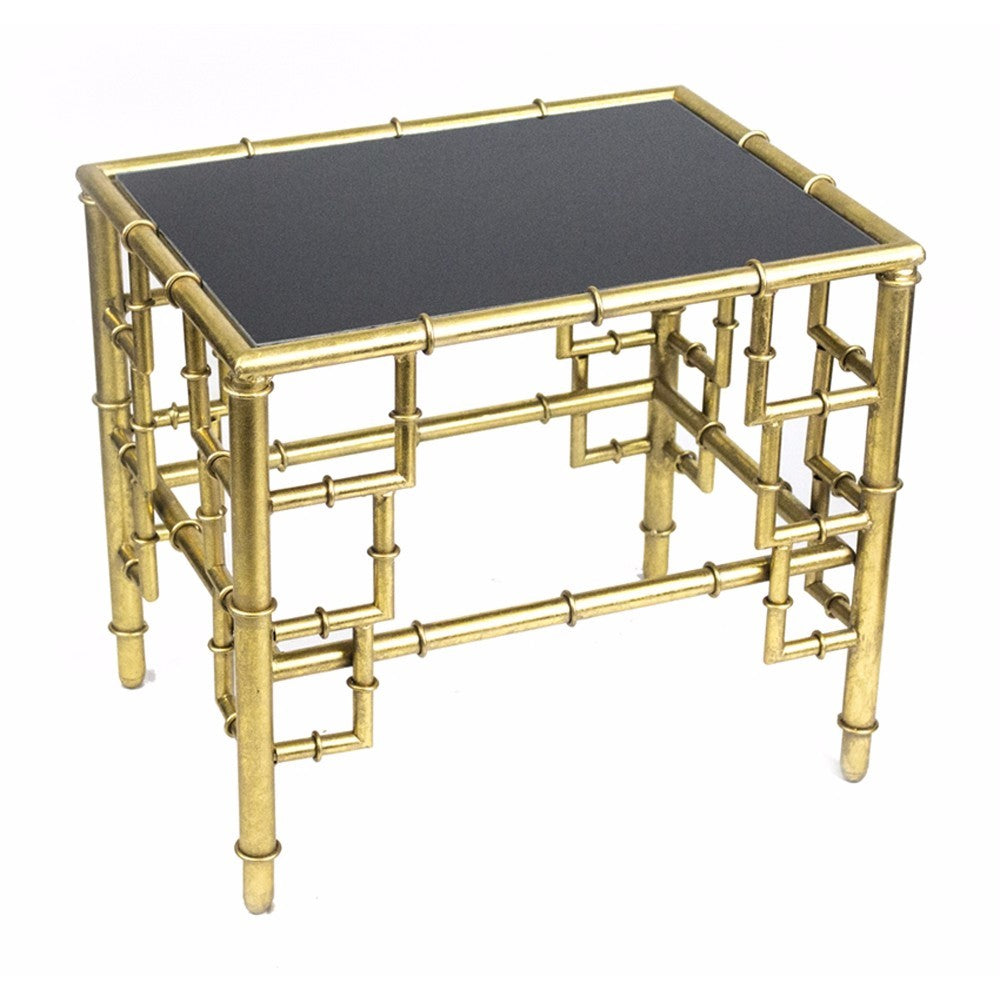 Bamboo Side Table table, Gold/Black