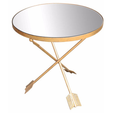 Metal & Glass Arrow Mirrored Top Table,Gold