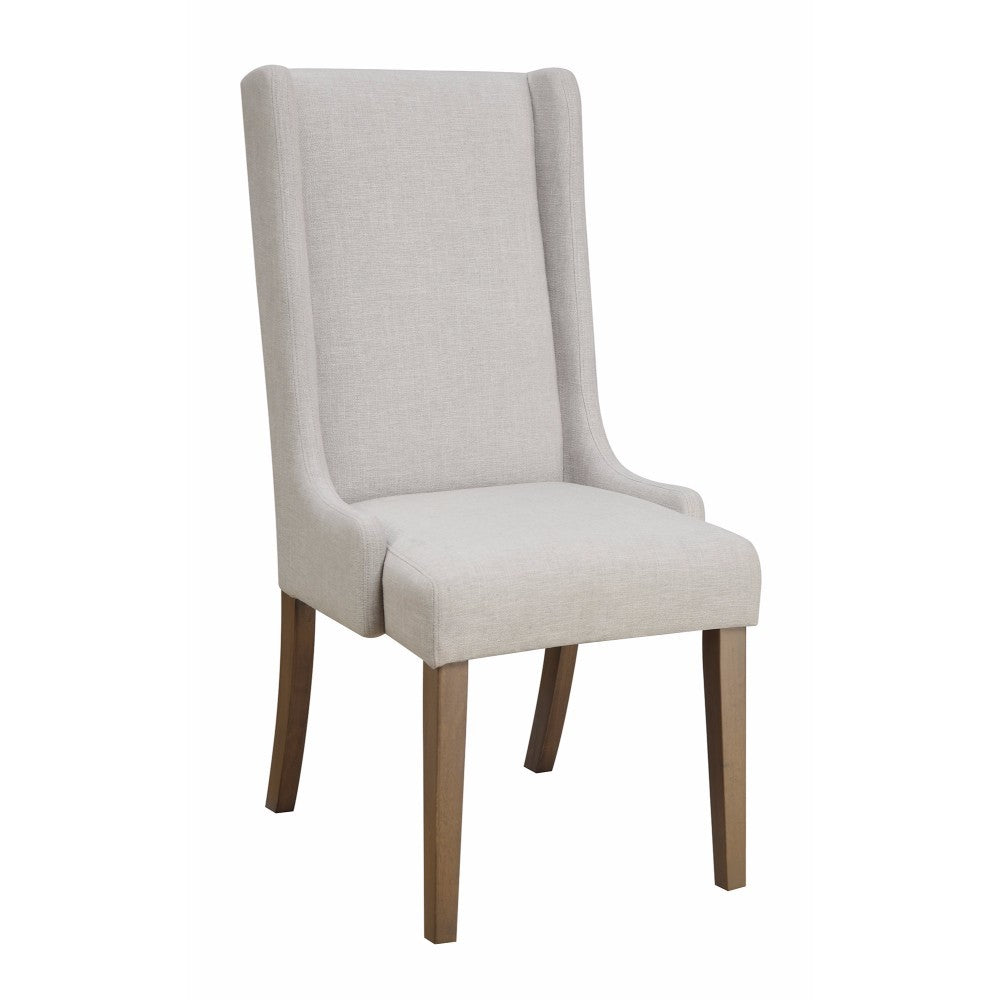 Upholstered Wingback Dining Chair, Light Gray And Brown