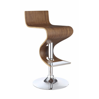 Modern Adjustable Bar Stool With Chrome Base, Brown And Silver