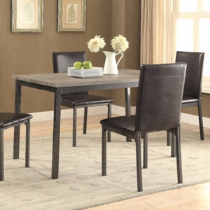 Contemporary Metal Dining Table With Wooden Top, Gray & Black