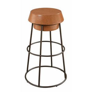 Stylish Wood And Metal Wine Cork Bar Stool, Brown And Black