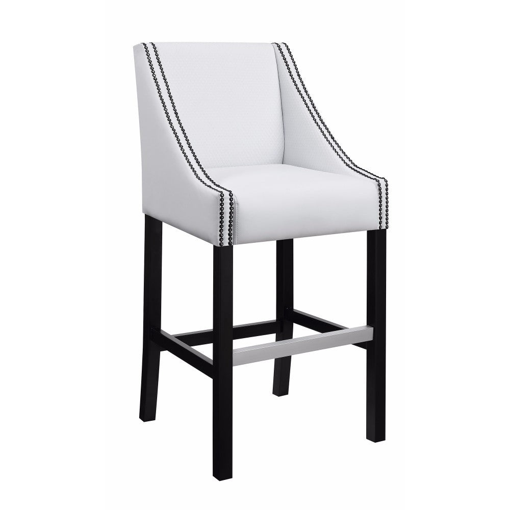 Classy Upholstered Bar Stool with Nail head Trim, White & Black