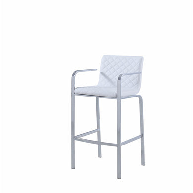 Alluring Diamond Pattern Bar Height Stool, White