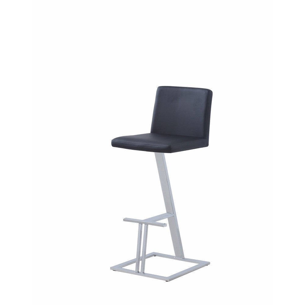 Contemporary Upholstered Bar Height Stool, Black And Silver
