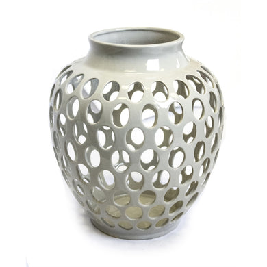 Utterly Refined Cutout Ceramic Vase, White