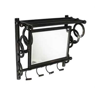 Beautifully Framed Metal Wall Organizer with Mirror, Black