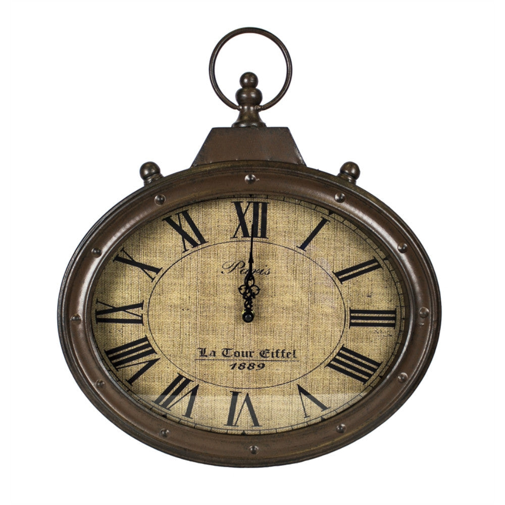 Rustically Retro Metal Wall Clock, Brown