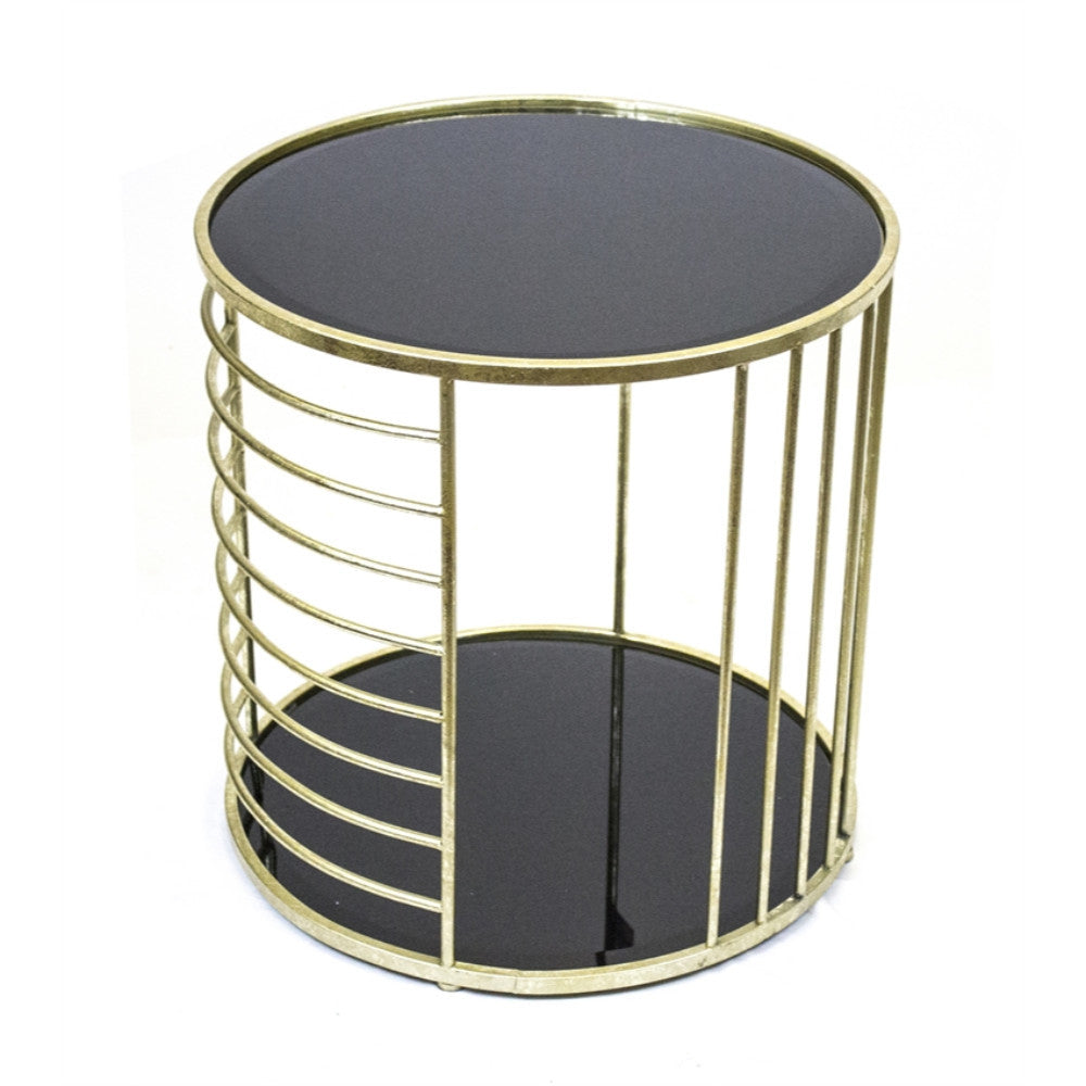 Utterly Astonishing Gold Metal and  Black Glass Accent Table
