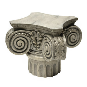 Artfully Designed Column Top Plant Stand, Gray