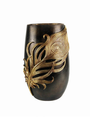 Appealing Polyresin Feather Vase, Gold And Black