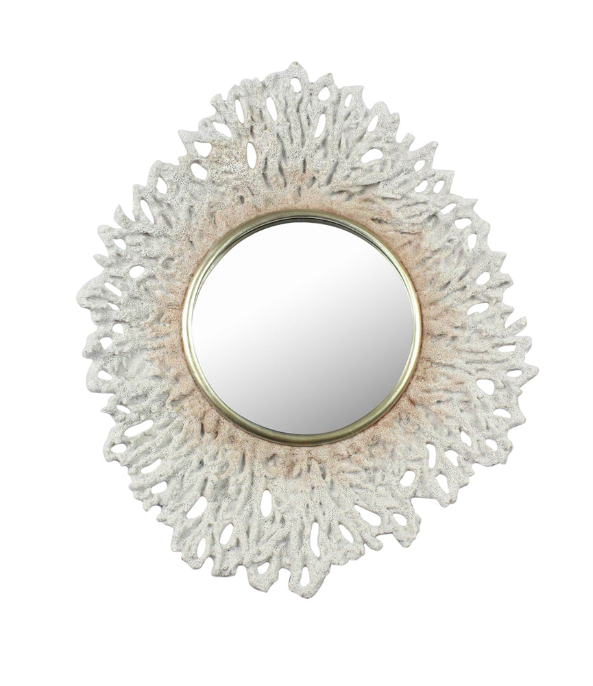 Alluring Mirror With Polyresin Coral Patterned Frame, White