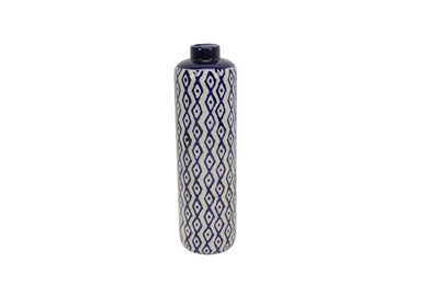 Striking Ceramic Diamond Pattern Vase, Blue And White