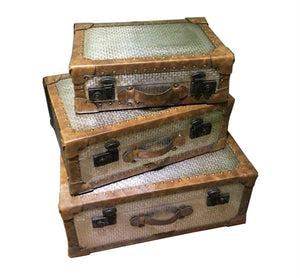 Traditional Metal Suitcases, Silver And Bronze, Set Of 3