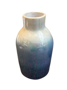 Artistically Designed Ceramic Vase, Cream And Blue