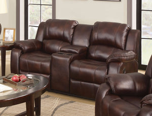 Polished MicroFiber Loveseat With Console (Motion), Brown