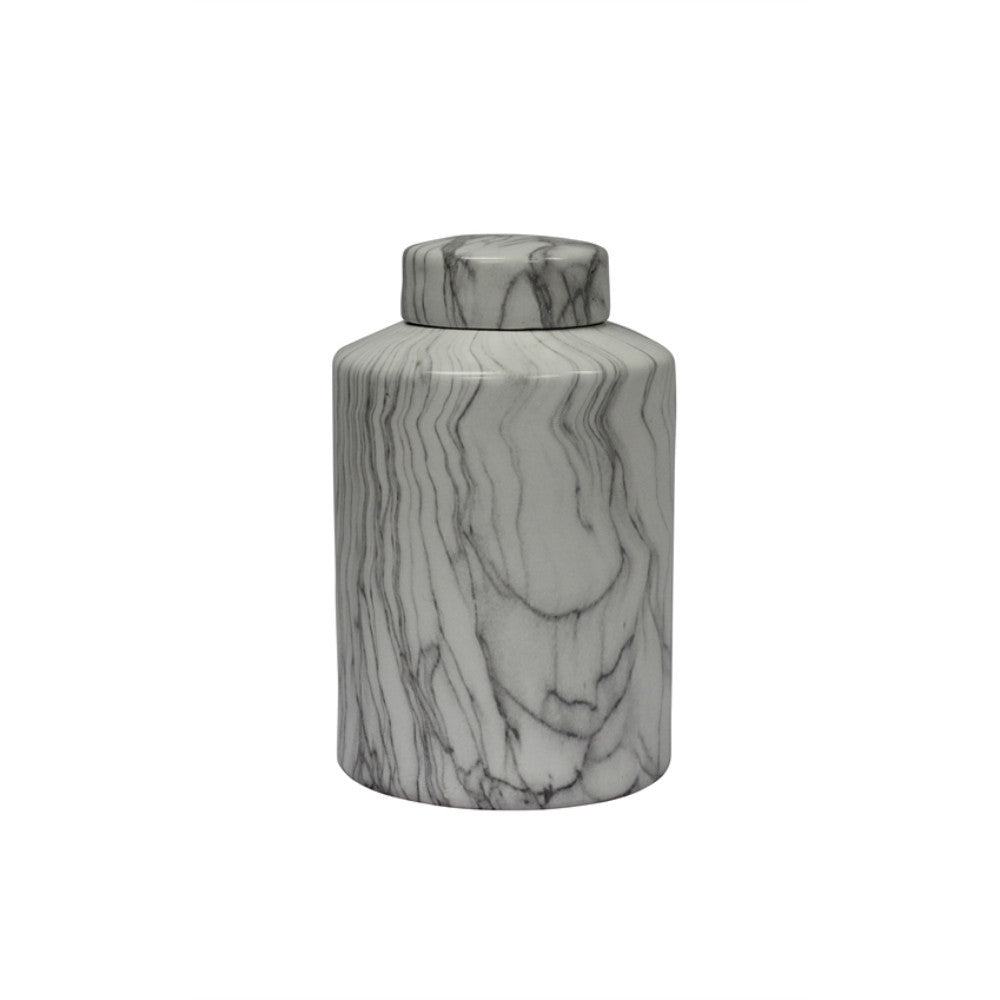 Marbleized Covered Ceramic Jar, Gray And White