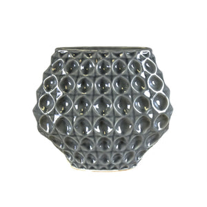 Refined Circular Patterned Decorative Geo Vase, Gray