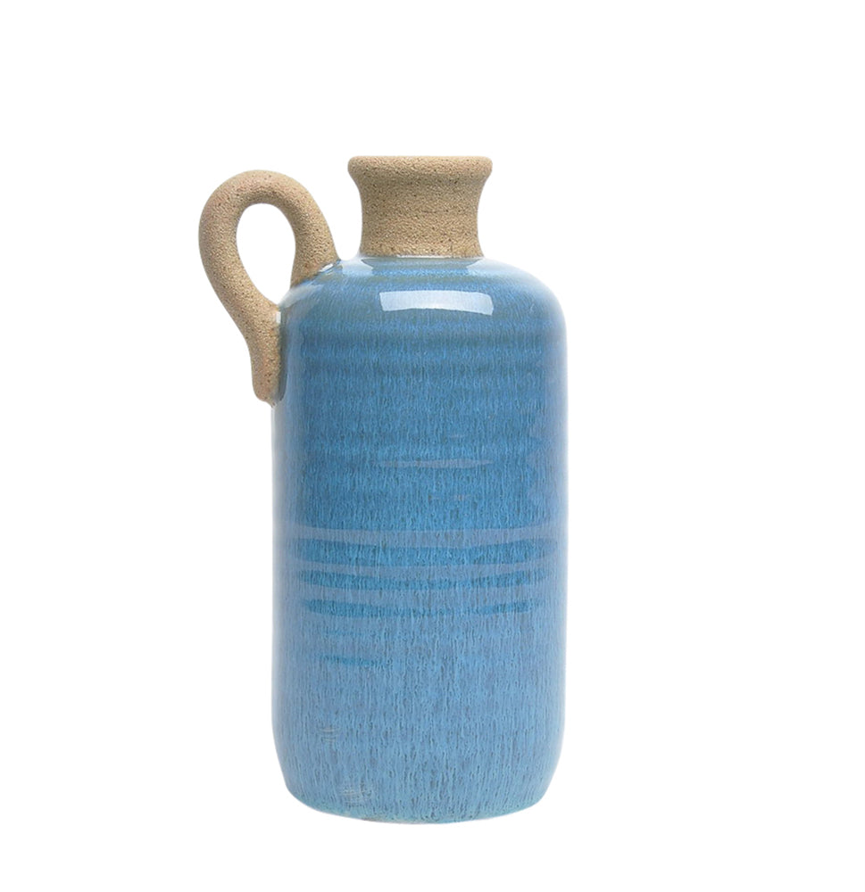 Shiny Ceramic Decorative Jar With Handle, Blue And Brown