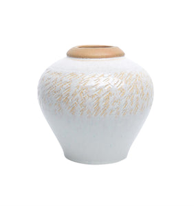 Decorative Urn Shaped Ceramic planter, Beige And White