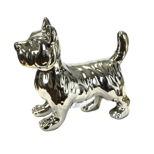 Stylish Ceramic Scottie Dog Figurine, Silver