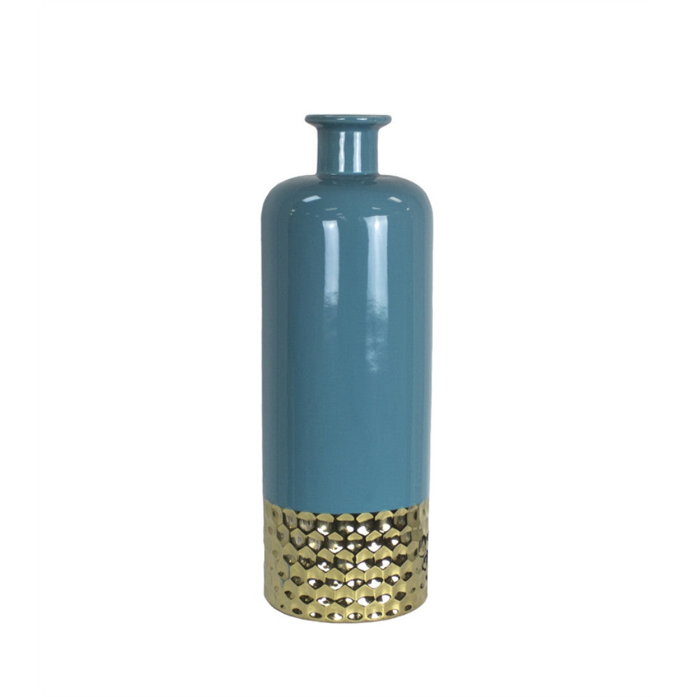 Traditional Decorative Ceramic Vase, Blue And Gold