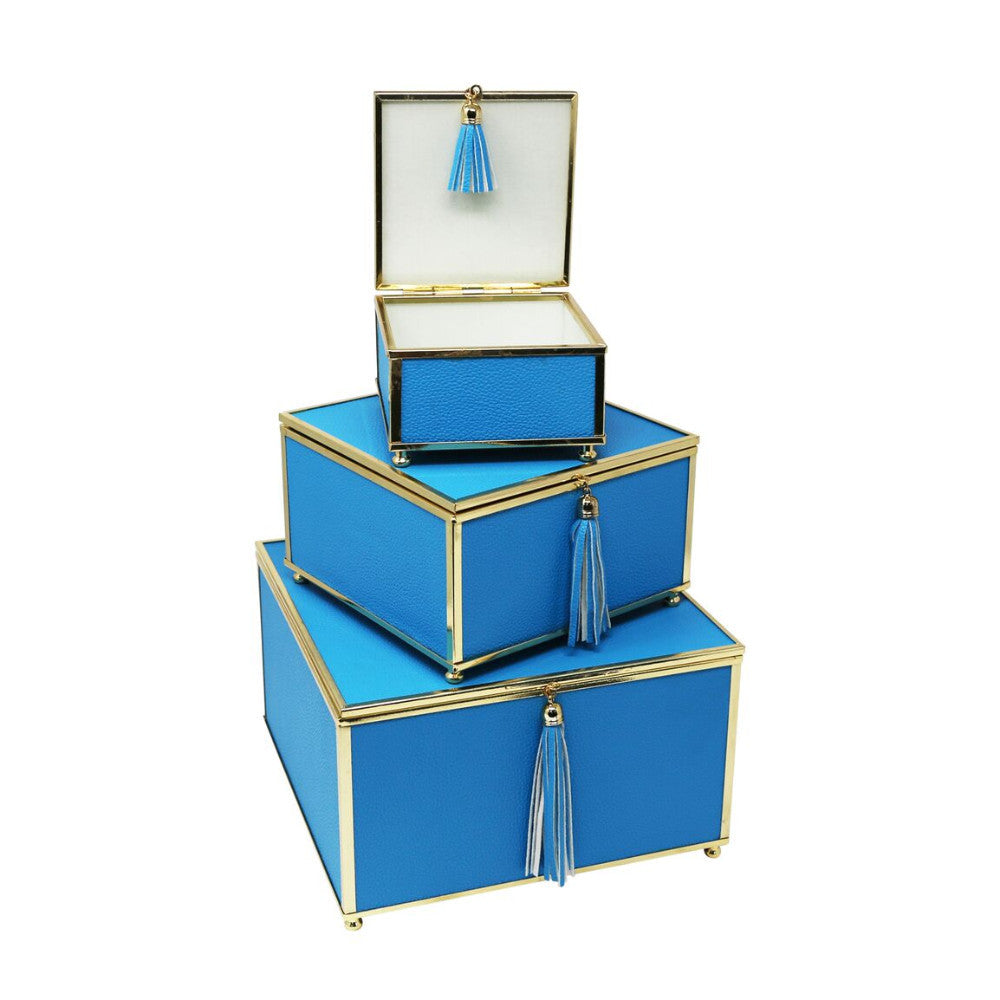 Extraordinary Set Of 3 Storage Boxes With Tassel , Blue
