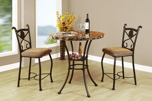 Wooden Counter Height Set, 3 Piece Pack, Brown Faux Marble & Brown