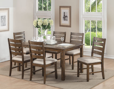 Wooden 7 Piece Pack Dining Set, Weathered Light Oak Brown