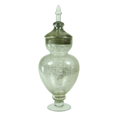 Traditional Glass Jar With Cover, Silver